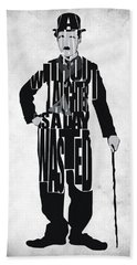 Charlie Chaplin Typography Poster Beach Towel