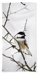 Charming Winter Chickadee Beach Sheet by Christina Rollo