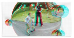 Chasing Bubbles - Red/cyan Filtered 3d Glasses Required Beach Towel
