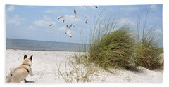 Chasing Gulls Beach Towel