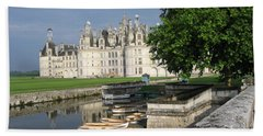 Chateau Chambord Boating Beach Towel by HEVi FineArt