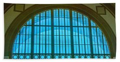 Beach Towel featuring the photograph Chattanooga Train Depot Stained Glass Window by Susan  McMenamin