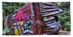 Cheakamus Box Car Graffiti Beach Towel