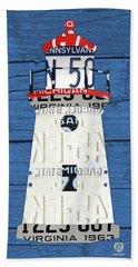 Cheboygan Crib Lighthouse Michigan Vintage License Plate Art On Wood Beach Towel