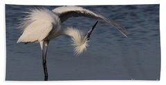 Checking For Leaks - Reddish Egret - White Form Beach Towel