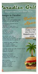 Cheeseburger In Paradise Jimmy Buffet Tribute Menu  Beach Towel