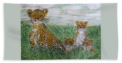 Cheetah And Babies Beach Towel