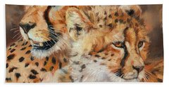 Cheetah And Cub Beach Towel by David Stribbling