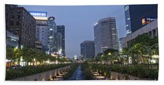 Cheonggyecheon Stream In Seoul South Korea Beach Towel