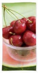 Cherries In Plastic Tub On Slice Of Watermelon Beach Towel