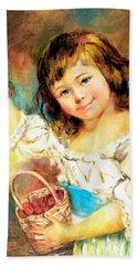Cherry Basket Girl Beach Sheet