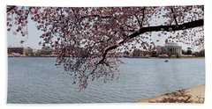 Cherry Blossom Trees With The Jefferson Beach Sheet by Panoramic Images