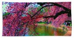 Cherry Blossom Walk Tidal Basin At 17th Street Beach Towel