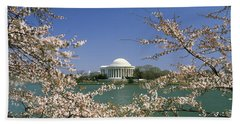 Cherry Blossom With Memorial Beach Sheet by Panoramic Images