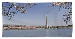 Cherry Blossom With Monument Beach Towel by Panoramic Images