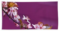 Cherry Blossoms And Plum Door Beach Towel