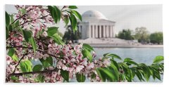 Beach Towel featuring the photograph Cherry Blossoms And The Jefferson Memorial 2 by Mitchell R Grosky