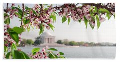 Beach Towel featuring the photograph Cherry Blossoms And The Jefferson Memorial Panorama by Mitchell R Grosky