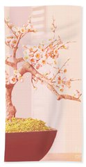 Beach Towel featuring the painting Cherry Bonsai Tree by Marian Cates