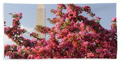 Beach Towel featuring the photograph Cherry Trees And Washington Monument 5 by Mitchell R Grosky