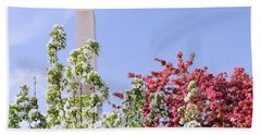 Beach Towel featuring the photograph Cherry Trees And Washington Monument Four by Mitchell R Grosky