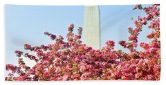 Cherry Trees And Washington Monument Two Beach Towel