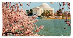 Cherry Trees At The Jefferson Beach Towel by Nick Zelinsky