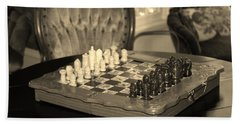 Chess Game Beach Sheet by Cynthia Guinn