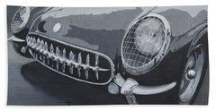 Beach Towel featuring the painting Chevrolet Corvette 1954 by Anna Ruzsan
