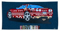 Chevrolet Corvette Recycled Michigan License Plate Art Beach Towel