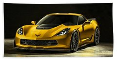Chevrolet Corvette Z06  Beach Sheet by Movie Poster Prints