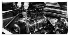 Chevy Supercharger Motor Black And White Beach Towel