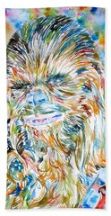 Chewbacca Watercolor Portrait Beach Sheet by Fabrizio Cassetta