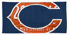 Chicago Bears Football Team Retro Logo Illinois License Plate Art Beach Towel