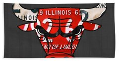 Chicago Bulls Basketball Team Retro Logo Vintage Recycled Illinois License Plate Art Beach Towel