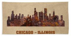 Chicago City Skyline Rusty Metal Shape On Canvas Beach Towel by Design Turnpike