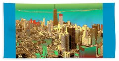 Chicago Pop Art In Blue Green Red Yellow Beach Towel