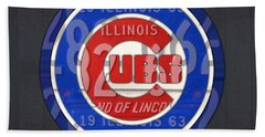 Chicago Cubs Baseball Team Retro Vintage Logo License Plate Art Beach Towel