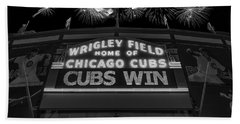 Chicago Cubs Win Fireworks Night B W Beach Towel