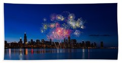 Chicago Lakefront Fireworks Beach Towel