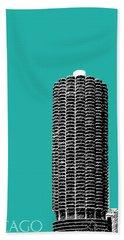 Chicago Skyline Marina Towers - Teal Beach Towel
