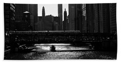 Chicago Morning Commute - Monochrome Beach Towel