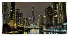 Chicago Night River View Beach Towel