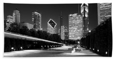 Chicago Night Skyline Black White Beach Towel