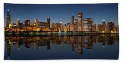 Chicago Reflected Beach Towel by Semmick Photo