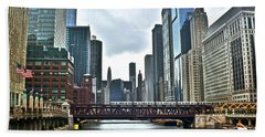 Chicago River And City Beach Towel