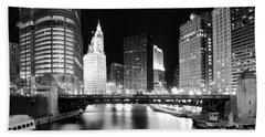Chicago River Bridge Skyline Black White Beach Towel