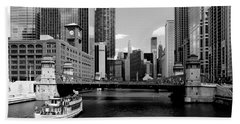 Chicago River Skyline Bridge Boat Beach Towel