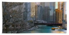 Chicago River Sunset Beach Towel