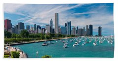 Chicago Skyline Daytime Panoramic Beach Sheet